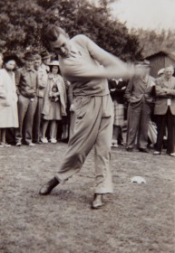 Mr. Hogan teeing off the old 1st Tee of Langhorne Country Club on May 10, 1941.