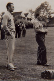 "World Golf Hall of Fame Member Ben Hogan watches as fellow PGA Tour player Joe Kirkwood Sr. warms up in the 18th fairway prior to their exhibition match. Hogan and Jimmy ""Titanic"" Thomson lost 1 down to Kirkwood and Langhorne CC host professional Al MacDonald on May 10, 1941."